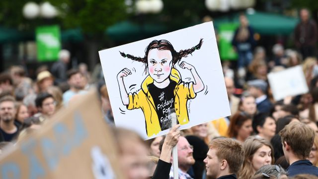 """La popularité de Greta Thunberg fait le bonheur de la majorité des Suédois comme ici, en mai dernier, lors de la manifestation """"Global Strike For Future"""""""
