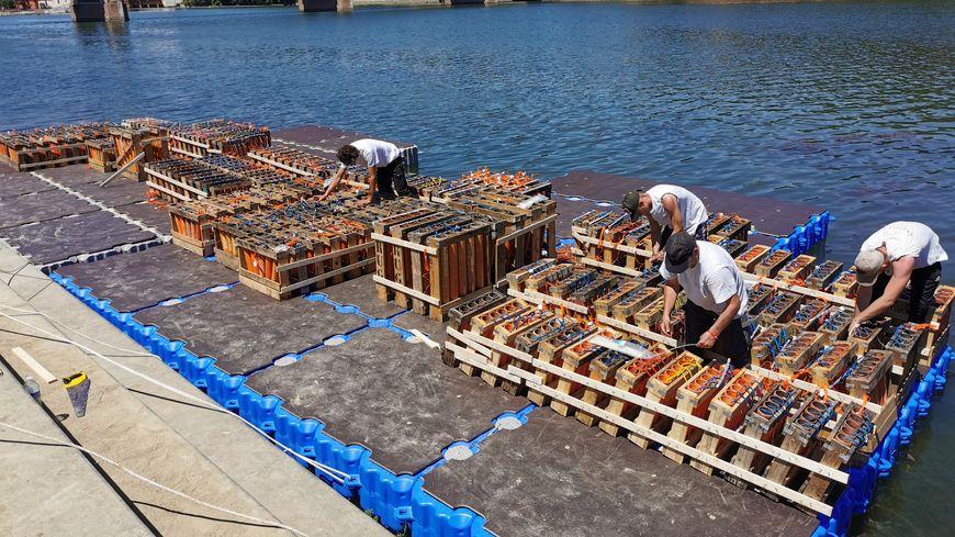 Avant la mise à l'eau des barges, les artificiers préparent le spectacle Port Viguerie
