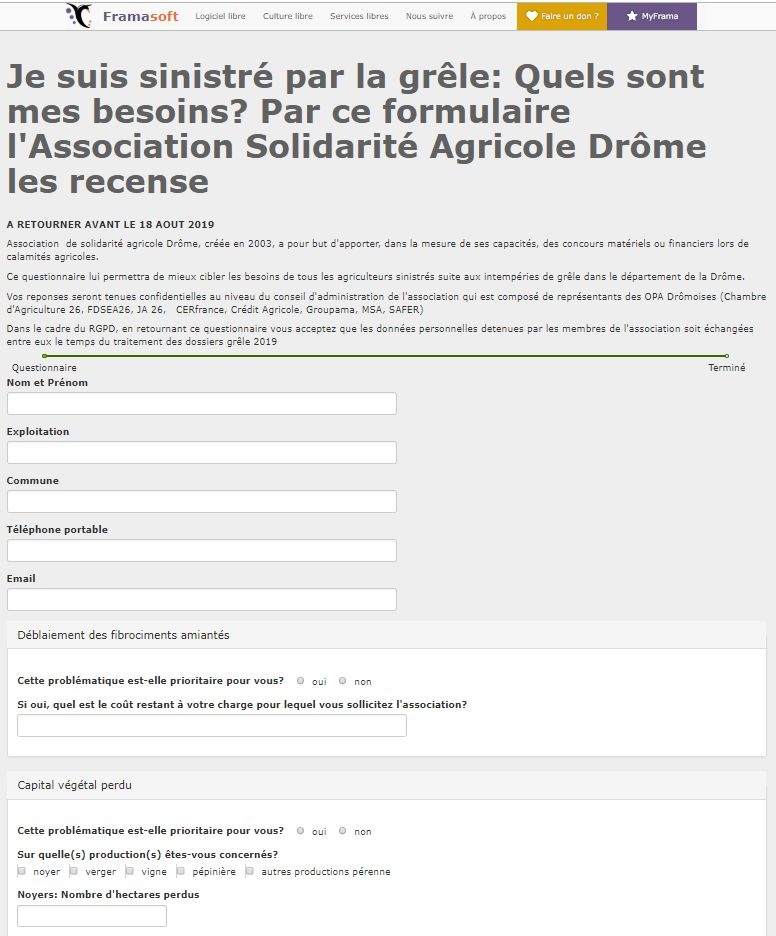 Capture d'écran du questionnaire, adressé aux agriculteurs drômois sinistrés, publié sur le site framaforms.org.