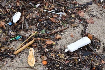 Une photo prise le 1 er novembre 2018 à La Ciotat, dans le sud de la France, montre une partie de la plage polluée par des traces d'hydrocarbures, d'algues, de morceaux de bois et de déchets plastiques rejetés par la mer.