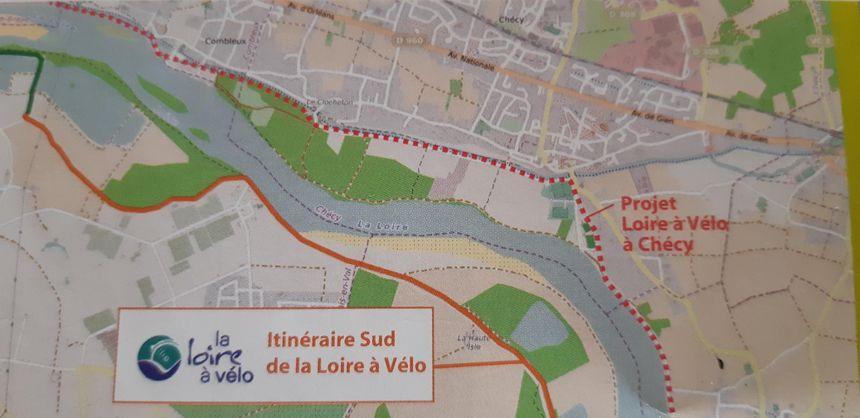 Le nouvel itinéraire en pointillé sur la carte