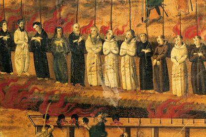 Détail du grand martyre de cinquante-deux chrétiens à Nagasaki en 1622 - peinture italienne du XVIIème siècle