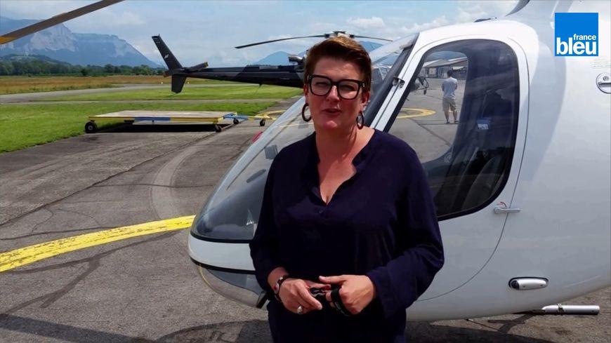 Frédérique Peyrusson dirige la société Hélisair sur l'aérodrome du Versoud
