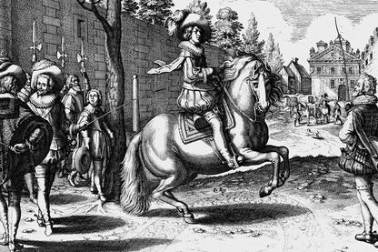 """""""Le roi ne tient que de Dieu et de son épée"""" - Ici Louis XIII dans une illustration Crispin de Passe pour le manège royal d'Antoine de Pluvinel"""