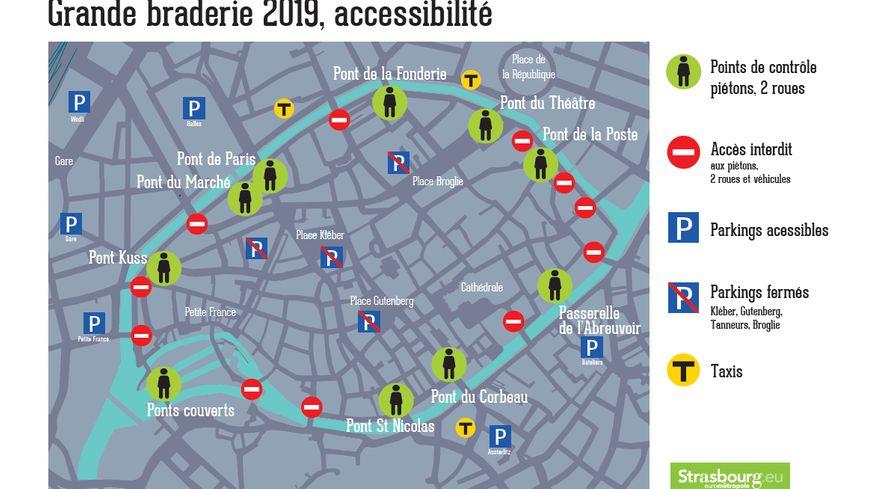 Les restrictions de circulation pour la Grande Braderie de Strasbourg le 27 juillet.