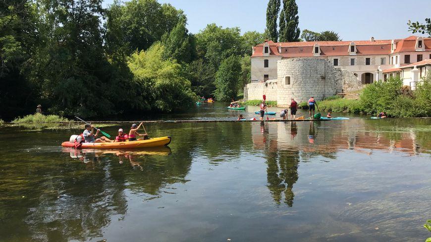 Les touristes mais aussi les Périgourdins prennent l'option canoë pour tenter de trouver un peu de fraîcheur pendant la canicule