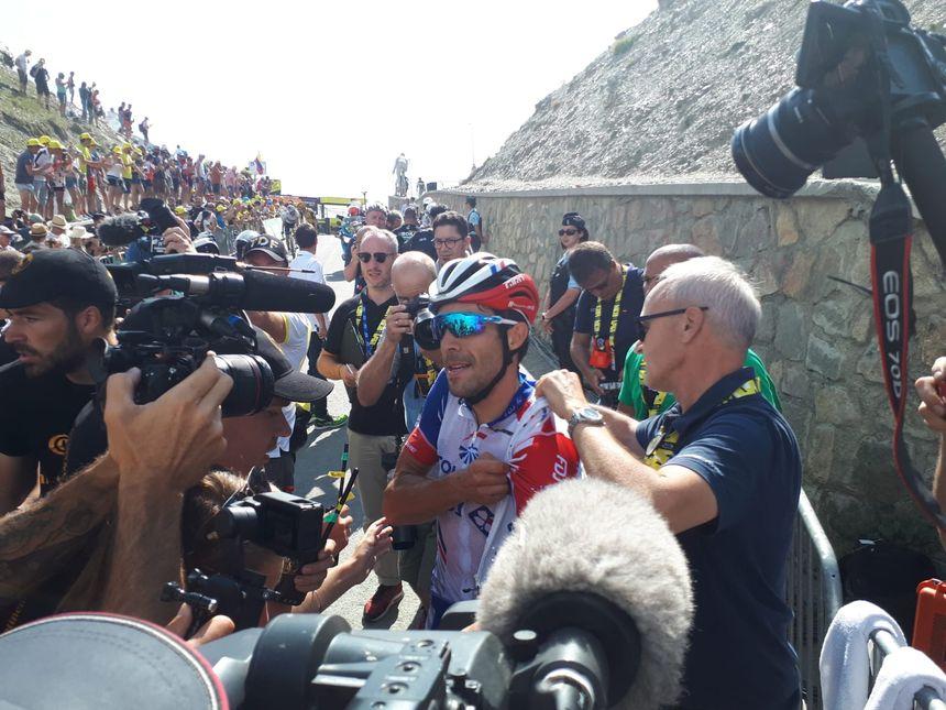 Thibaut Pinot après son arrivée au col du Tourmalet