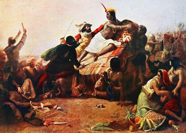 L'empereur Inca Atahualpa attaqué et capturé par les conquistadors espagnols menés par Francisco Pizarro, 1532