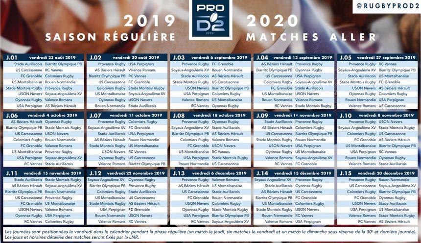 le calendrier de Pro D2