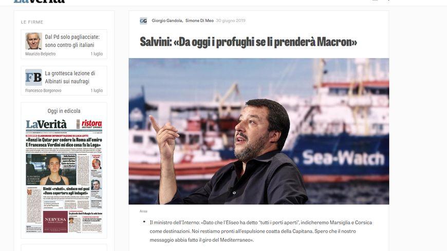 """Capture d'écran du site du journal italien La Verità et de l'article du 30 Juin """"A partir d'aujourd'hui, Macron prendra les réfugiés""""."""