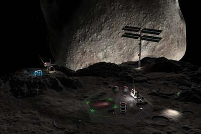 Représentation d'une mine sur  l'astéroïde double 90 Antiope.