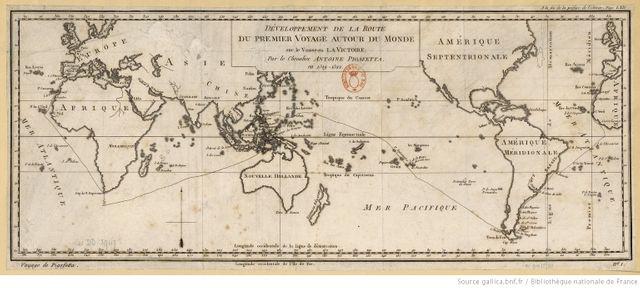 Carte reproduisant le premier voyage autour du monde (1519-1522)