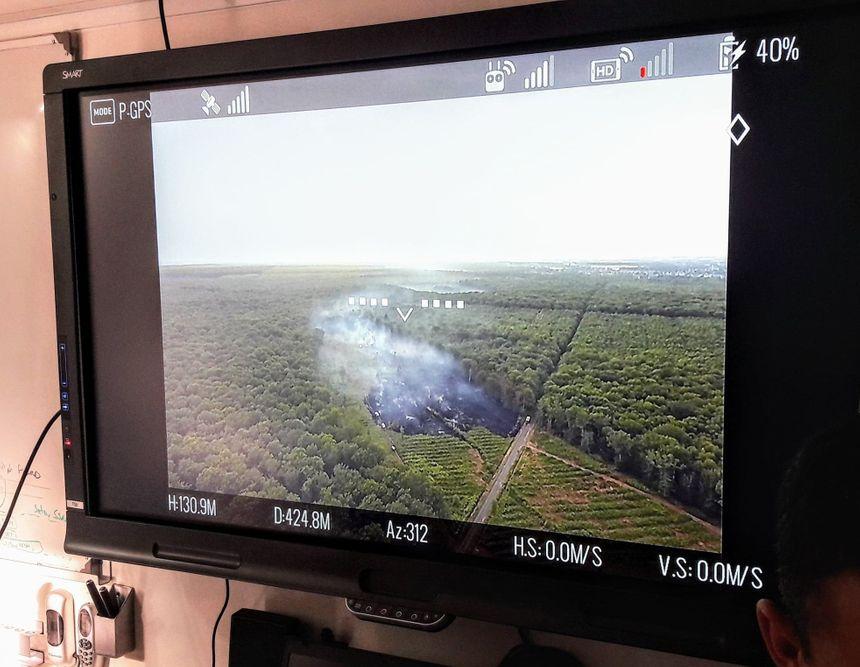 L'appui technique d'une société privée d'imagerie par drône a permis aux pompiers de mesurer plus rapidement l'étendue de la zone à traiter