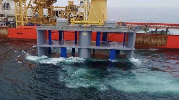 L'hydrolienne est plongée au large de l'île de Bréhat et utilise les courants marins