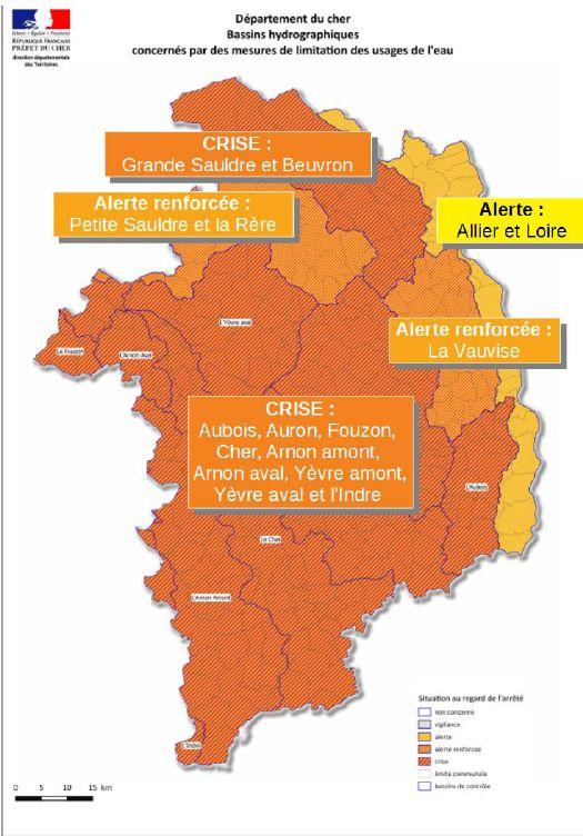 10 des 14 bassins versants dans le Cher sont placés en situation de crise