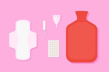 Serviette, tampon, coupe réutilisable, pilules et bouillotte : le kit de survie pendant les règles