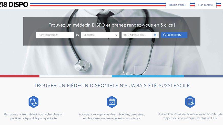 Page d'accueil de Dispo.fr, la plateforme de prise de rendez-vous médicaux en ligne proposée par 118-218