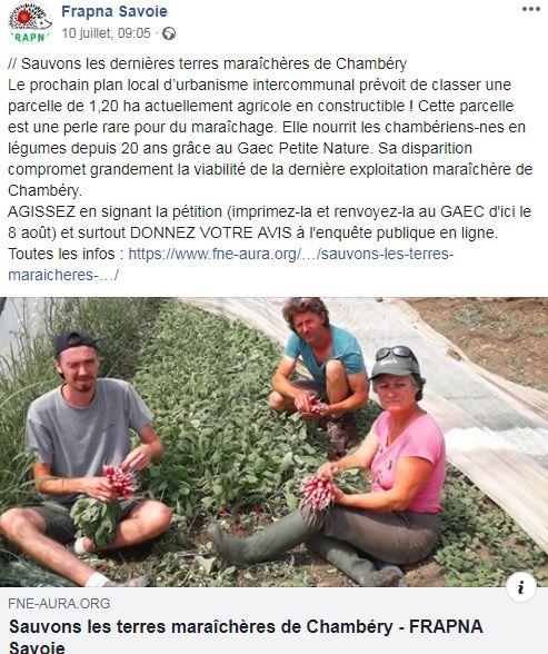 lal Frapna Savoie relaie la pétition lancée uniquement sur papier par Franck Vuillermet à Chambéry-Bissy