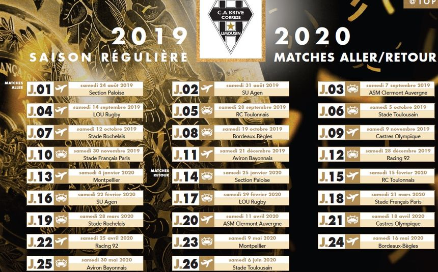 Calendrier 2020 Top 14.Top 14 Decouvrez Le Calendrier Du Ca Brive Pour La Saison