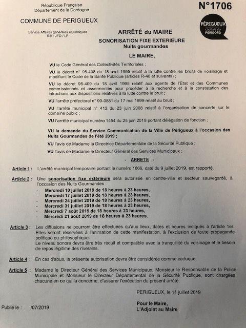L'arrêté de la mairie de Périgueux concernant les sonos lors des nuits gourmandes