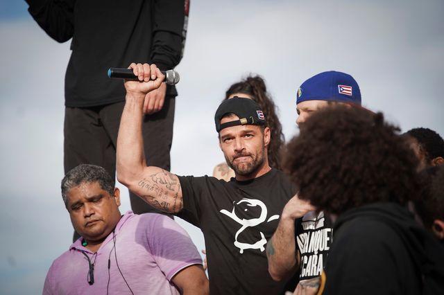 Le chanteur Ricky Martin à la manifestation du 17 juillet dans les rues de San Juan, capitale de Porto Rico