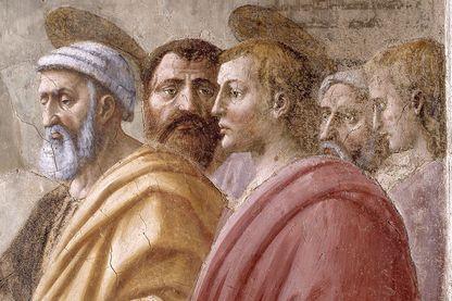 Distribution de l'aumone et de la mort d'Ananie par Masaccio. Fresque de la Chapelle Brancacci dans l'église Santa Maria del Carmine. Détail avec Saint-Pierre et Sain-Jean.