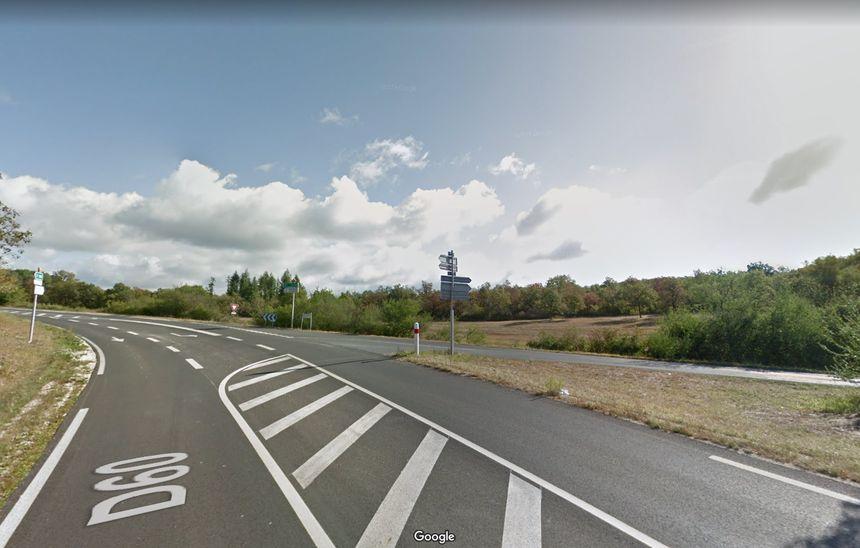 Le feu s'est produit à l'intersection entre la D60 et la D63 à Nadaillac