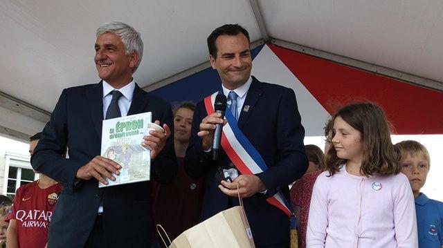 Hervé Morin, président de Région et Franck Guéguéniat, maire d'Epron