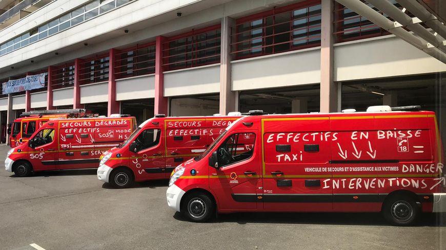 Les camions de pompiers du centre de secours de Tours Sud