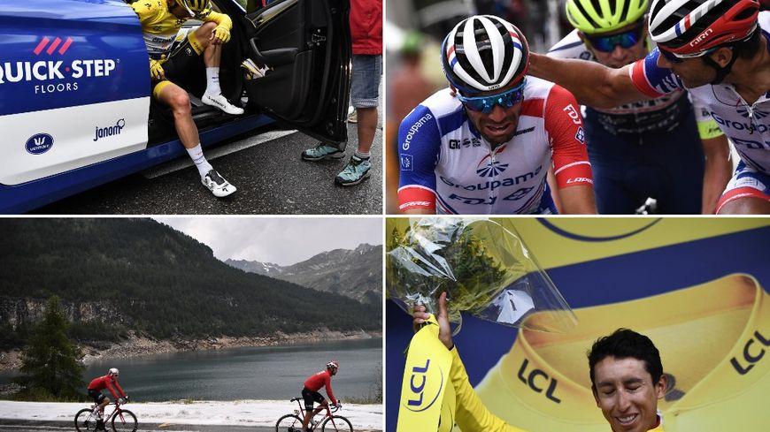 Alaphilippe et Pinot (en haut) ont fait vibrer le cœur des Français alors que le Clombien Egan Bernal a remporté ce Tour de France lors de la 19e étape dantesque menant à Tignes (en bas)