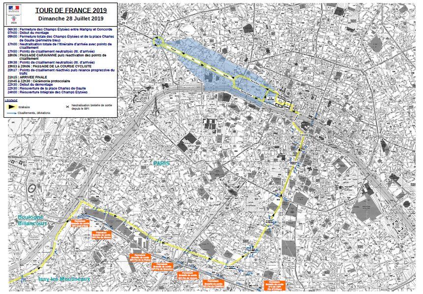 La carte des restrictions de circulation pour la 21e étape du Tour de France