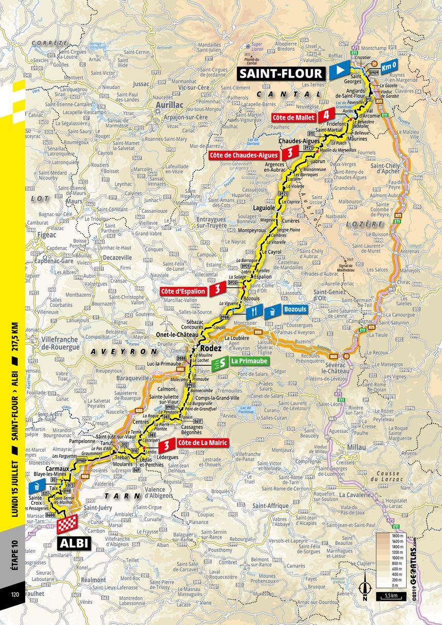 La carte de cette 10e étape entre le Cantal et le Tarn.