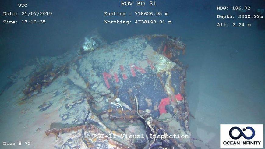 L'épave de La Minerve gisant à plus de 2000 mètres de profondeur