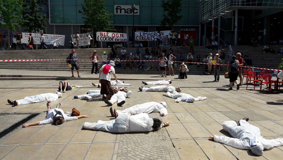 """Clermont-Ferrand : des faucheurs volontaires manifestent contre """"les agissements occultes"""" de Limagrain"""