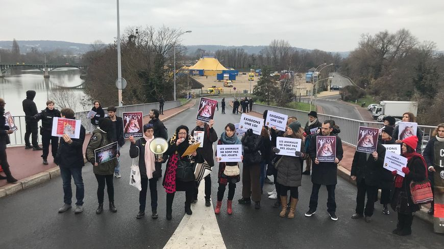 Les militants de Paris Animaux Zoopolis devant le cirque de Rome à Chatou (Yvelines) en décembre 2018