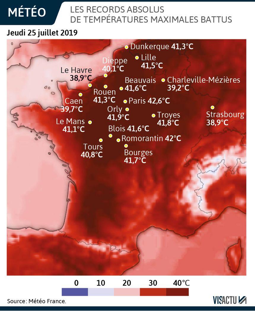 Canicule : les records de température battus jeudi 25 juillet 2019 en France