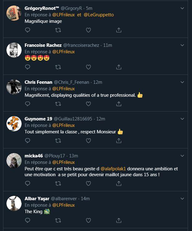 Beaucoup de réactions de supporters au beau geste de Julian Alaphilippe