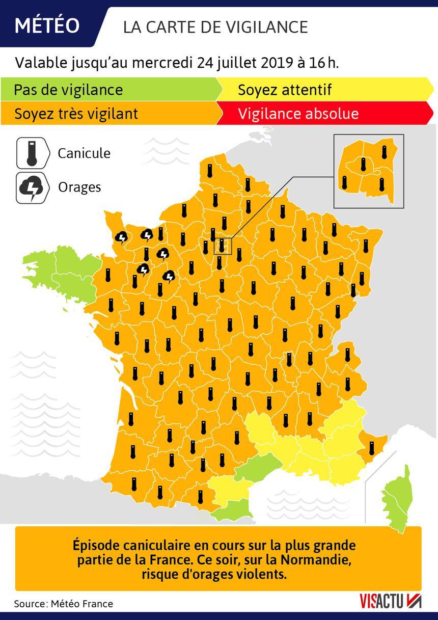 81 départements en vigilance orange dont 80 en vigilance canicule, un record