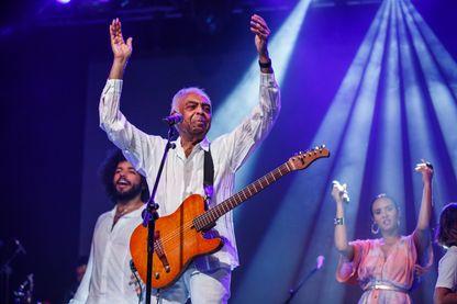Le musicien, chanteur et compositeur Gilberto Gil, en concert le 13 juillet 2018 à Barcelone, Espagne.