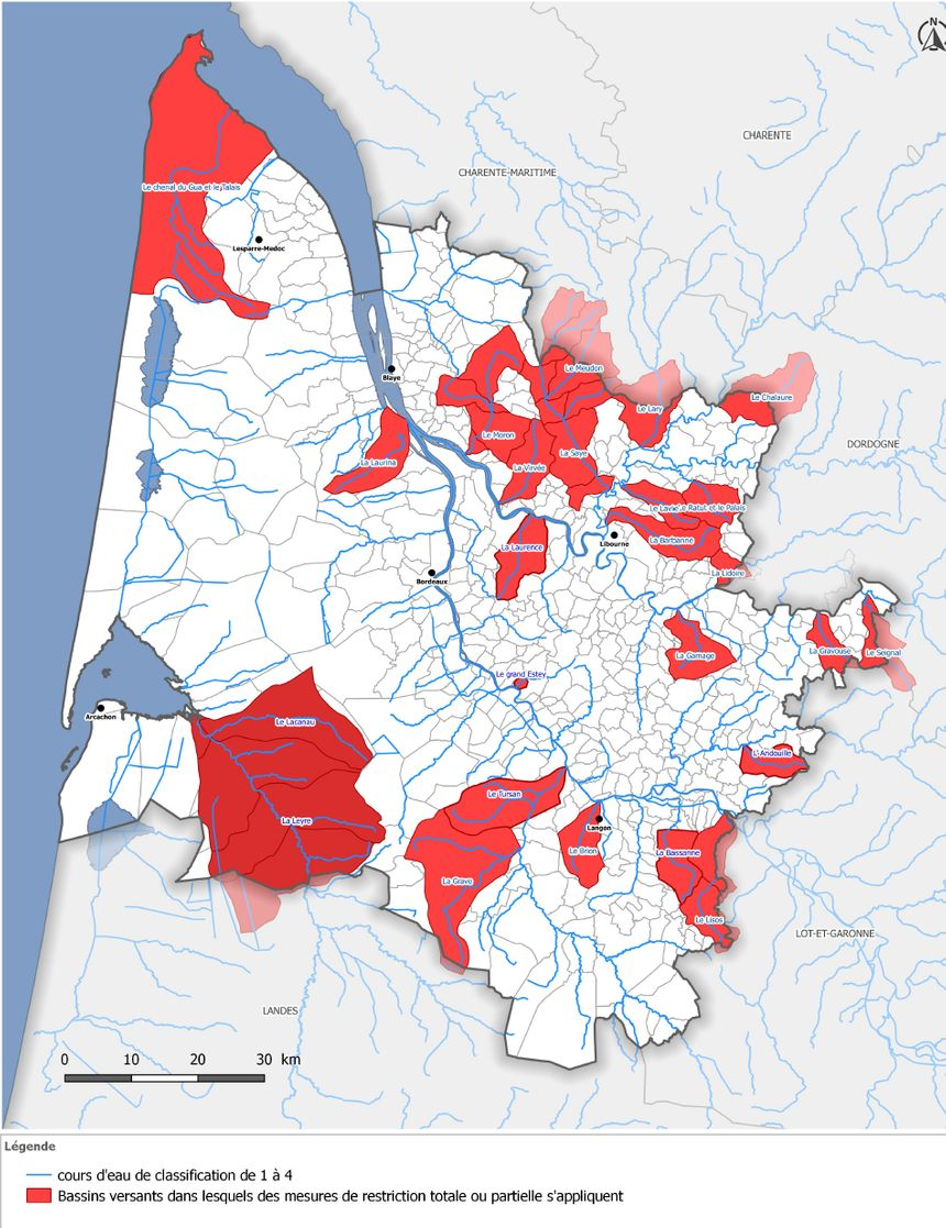La carte des cours d'eau concernés par les restrictions en Gironde.