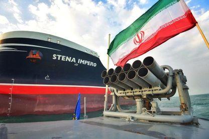 """Le pétrolier Stena Impero battant pavillon britannique a été arraisonné  par l'Iran le 19 juillet 2019 dans le détroit d'Ormuz, au motif qu'il n'aurait pas respecté le """"code maritime international"""""""