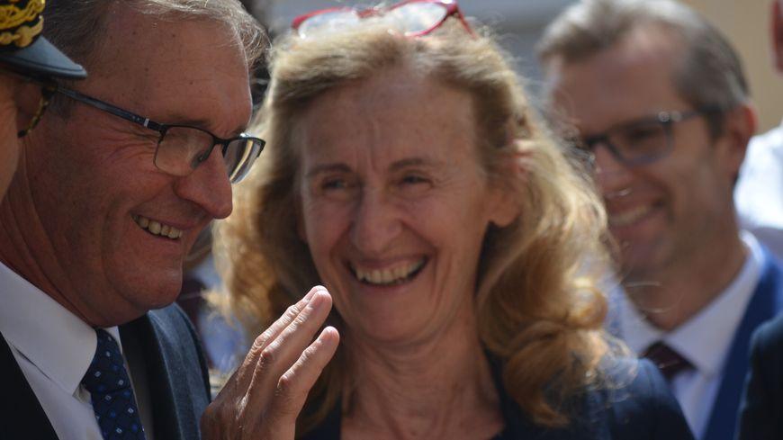 Nicole Belloubet, avec Germinal Peiro, lors de sa visite en Dordogne