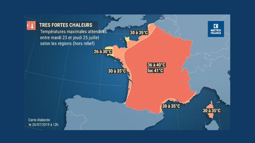 La carte des prévisions de Météo France pour ce nouvel épisode de canicule