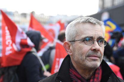 Yves Veyrier, lors d'une manifestation à Paris, en février 2019.