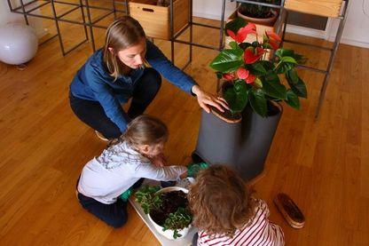 Des enfants nourrissent les vers du compartiment compost du pot de fleur composteur