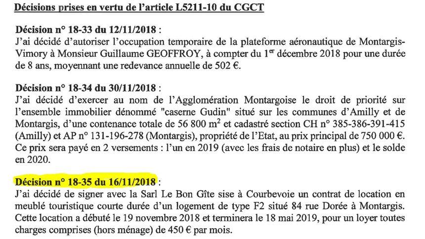 Capture d'écran du procès-verbal du Conseil Communautaire de l'Agglomération Montargoise et Rives du Loing.