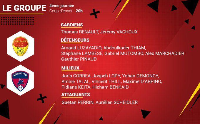 Les mêmes 18 joueurs sont reconduits en championnat face à Clermont