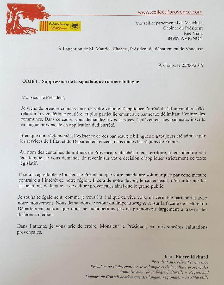 Le courrier adresser par le collectif Prouvènço au Conseil départemental
