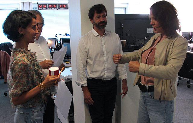 Sophia Aram, Pierre Haski, Sébastien Laugénie et Florence Paracuellos