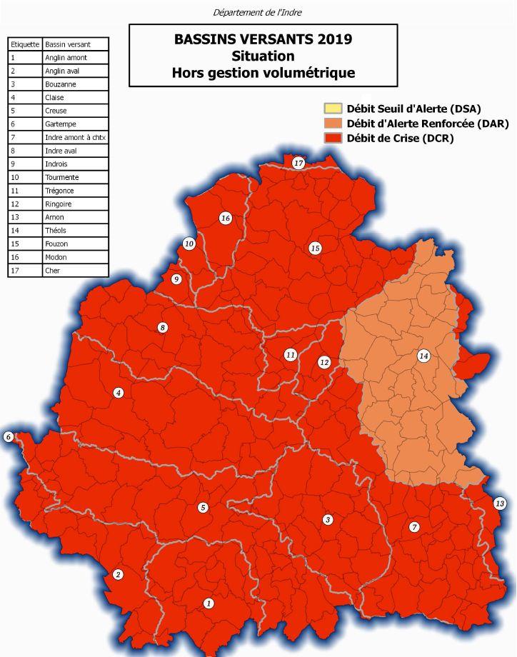 La carte de la préfecture de l'Indre